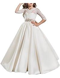 IBTOM CASTLE Vestido de niña de flores para la boda Niños Largo Gala Encaje De Ceremonia Fiesta Elegantes Comunión Paseo Baile…