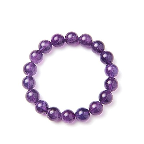 SUNNYCLUE Natural auténtica Piedras preciosas Amatista Pulsera elástica 10 mm Ronda Perlas de aproximadamente 7 'unisex
