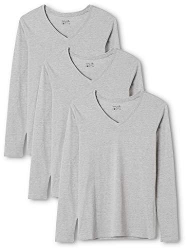 Berydale Camiseta de manga larga de mujer, con cuello de pico, lote de 3, en varios colores, Gris, 2XL