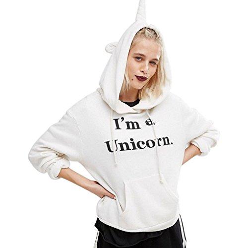 Sweatshirt à Capuche Licorne Femme Ado Imprimé Lâche Manches Longues Pullover Unicorn Hoodie Hip Hop Manteau Pull a Oreille Automne Hiver Overize Tops Veste - BienBien Blanc