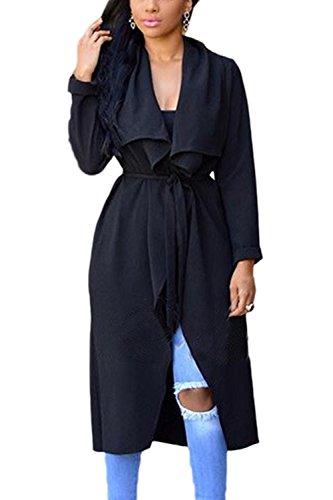 Les Manches Longues Devant Lautomne Occasionnel Outcoat Long Manteau Ouvert Avec Ceinture Solide Black