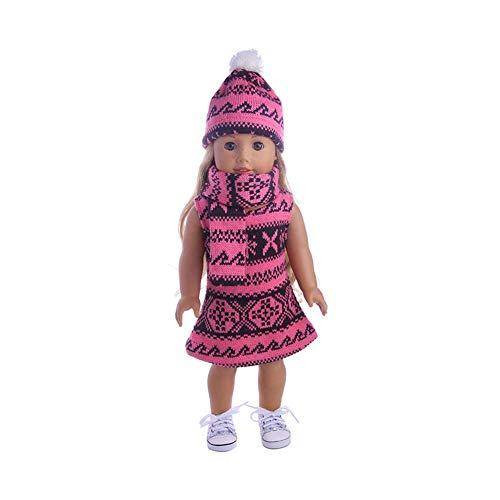 Puppenkleidung für 45,7 cm große Puppen – süßer 3-teiliger Pulloverrock mit Mütze und Schal Outfit, schöne Puppenkleideroutfit rosarot