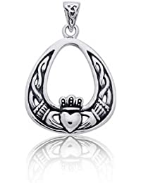 Antiqued Claddagh Colgante Plata Esterlina