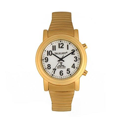 SOLAR Funkuhr Funkarmbanduhr Zeitansage Goldene Sprechende Uhr GOLD Senioren Damen Herren Armbanduhr Kalender Ansage Wochentag Sprachfunktion (Leere Uhr)