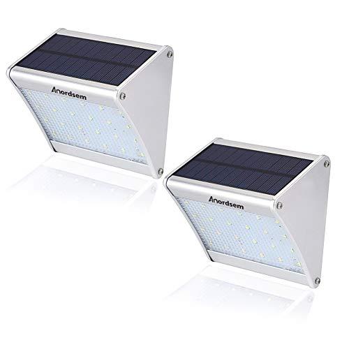 Foco Solar Exterior Sensor Movimiento (2 Piezas) 24 LED Luz Solar con...