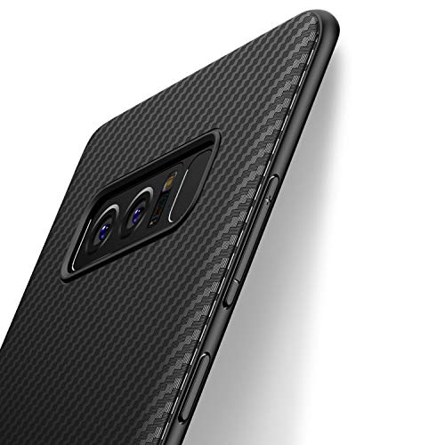 Coque Samsung Galaxy Note 8, J Jecent [Fibre de Carbone] Silicone TPU Souple Bumper Case Cover de Protection Premium Non Slip Surface Housse Etui [Anti-Choc et Anti-Rayures] 6.3 pouces - Noir