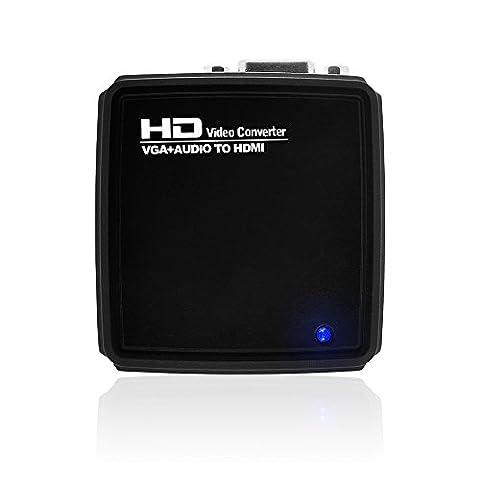 V.TOP VGA auf HDMI Adapter mit Audio–Mobiler VGA auf HDMI-Konverter - Konvertieren Sie ein VGA-Signal von einem Laptop oder Desktopcomputer in