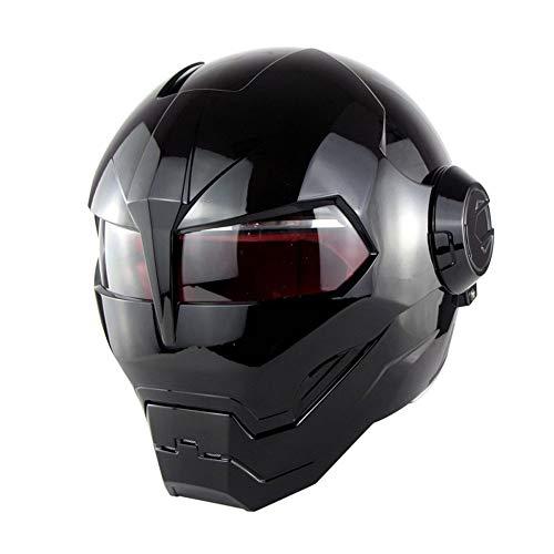 LONG Motorradhelm Integralhelm Erwachsener Integralhelm, Iron Man Transformers Helm,Black,L