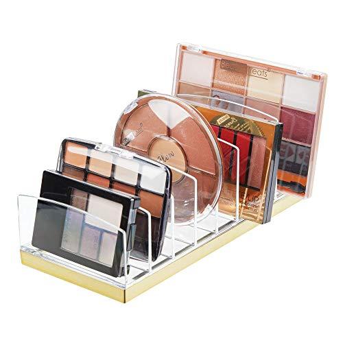mDesign Kosmetik Organizer aus Kunststoff - Schminkaufbewahrung mit 9 Steckplätzen - Aufbewahrungsbox für den Waschtisch, Schminktisch oder Schrank - durchsichtig und messingfarben
