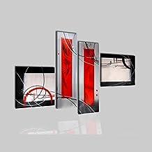 cuadros modernos geometrico colores rojo gris negro decorativo para salon sala oficina geometria e arte