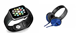 MIRZA Smart Watch & Extra Extra Bass XB450 Headphones for LG OPTIMUS L5 DUAL(Bluetooth Headset & Bluetooth A1 Smart Watch Wrist Watch Phone with Camera & SIM Card Support Hot Fashion New Arrival Best Selling Premium Quality Lowest Price with Apps like Facebook,Whatsapp, Twitter, Sports, Health, Pedometer, Sedentary Remind & Sleep Monitoring, Better Display, Loud Speaker, Microphone, Touch Screen, Multi-Language, Compatible with Android iOS Mobile Tablet-Assorted Color)