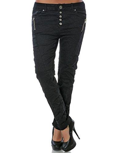 Damen Boyfriend Jeans Hose Reißverschluss Knopfleiste (weitere Farben) No 14242, Farbe:Schwarz, Größe:S / 36