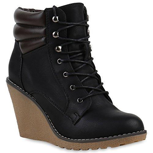 Keilstiefeletten Damen Metallic Stiefeletten Profil Sohle Schuhe 122056 Schwarz Bexhill 37 | Flandell®