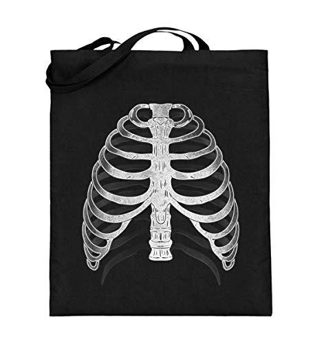 SwayShirt Realistisches Skelett Röntgen 3D X-Ray Rippen Halloween Geschenkidee T-shirt Kostüm - Jutebeutel (mit langen Henkeln)