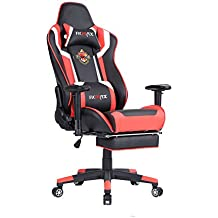 Ficmax talla grande silla de oficina de escritorio computadora ergonomica racing gaming con masaje soporte lumbar y reposapiés ajustable, negro / rojo