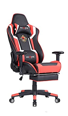 Ficmax Racing Style Bucket Seat Large Size Gaming Swivel Chair with Lumbar Massager Support & Adjustable Footrest
