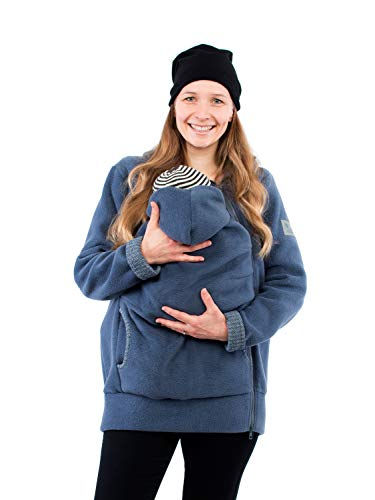 Viva la Mama - Tragejacke Baby warm Fleece Umstandsjacke schwanger Winter Jacke günstig Damen Babytragen Kängurujacke - AHOI - stahlblau Fischgräte - L