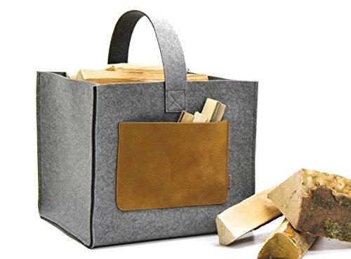 *Holzkorb, Kaminholztasche aus Wollfilz*
