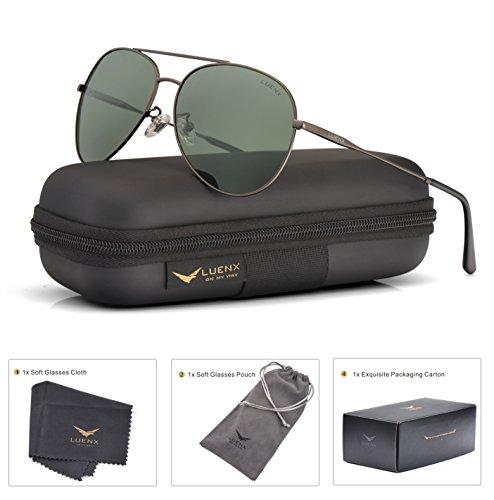 LUENX Men Women Aviator Sunglasses Grey Green Polarized Lens Gun Metal Frame Non-Mirror 59MM with Accessories
