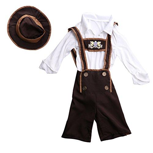MagiDeal Kinder Jungen Trachtenhemd & Trachtenhose Set für Oktoberfest - M