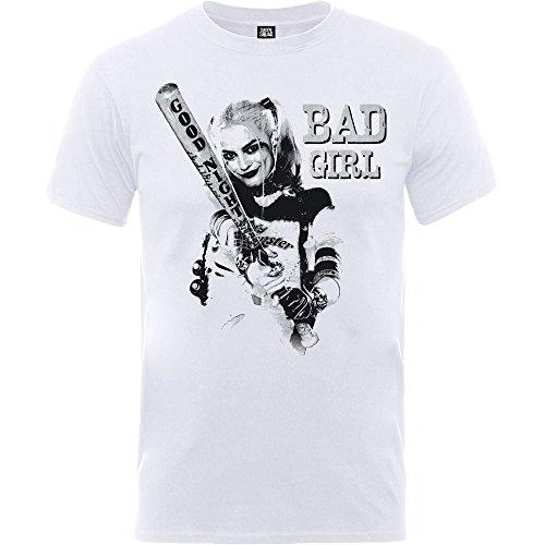 Harley Quinn Selbstmord-Kader-das T-Shirt der weißen Männer Schlechter Mädchen-Baseball-Schläger Gute Nacht Margot Robbie Offizielle DC-Komödien-Waren XXL Selbstmord Tshirt