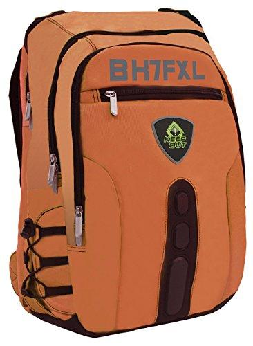 'keepout bk7F Falsch Leder schwarz/orange Rucksack-Rucksäcke (Fake Leder, Nylon, schwarz/orange, monoton, Unisex, 43,2cm (17), Vordertasche, Seitentasche)