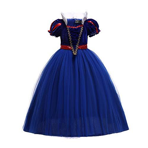 Beauty Blau Sleeping Kostüm - ELSA & ANNA® Mädchen Prinzessin Kleid Verrücktes Kleid Partei Kostüm Outfit DE-SNWBLU02 (7-8 Jahre, Blau)