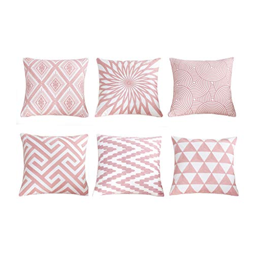 SIMPVALE Juego de 6 Fundas de cojín con Bordado de para decoración de Muebles de jardín,Color Rosa...
