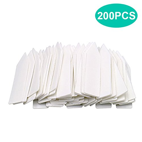 KINGLAKE 200 Stück Klein Plastik Pflanzenstecker Weiß, 5 x1 cm Kunststoff Pflanzenschilder Wetterfest, Plastik Stecketiketten Etiketten für Pflanzen