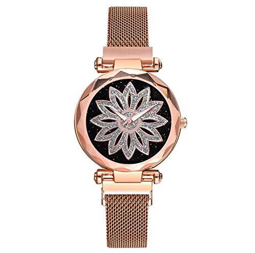 GWXFDZ Popular Damas Flor Rhinestone Reloj Señoras Simple Oro Rosa Acero Cuarzo Reloj Imán Regalo...