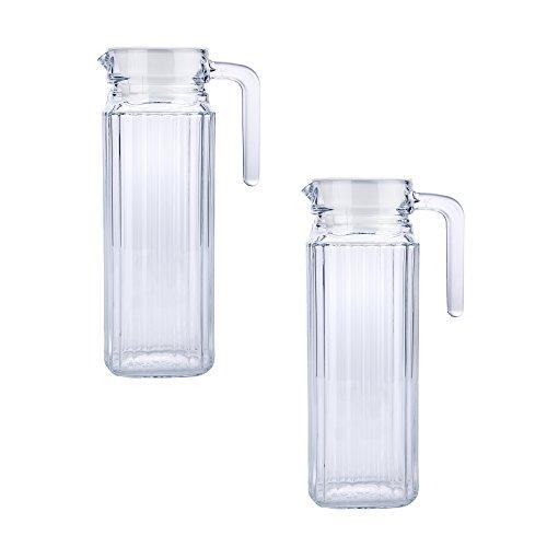batania 2 x Glas Pitcher/Saftkrug/Kühlschrankkrug/Wasserkrug/Kühlschrankkrug Quadro | 1,1 Liter