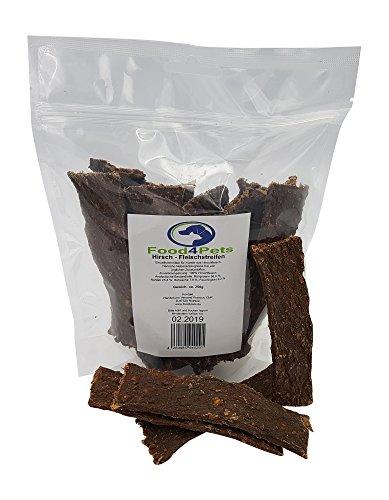 Food4Pets Fleischstreifen für Hunde aus Hirschfleisch 250g - natürliche Kaustreifen für ihren Hund