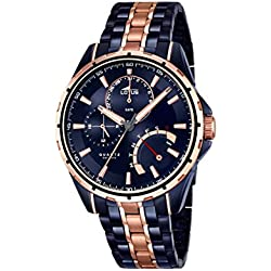 Lotus Men's Quartz Watch with Blue Dial Analogue Display and Two Tone Stainless Steel Plated Bracelet 18205/1