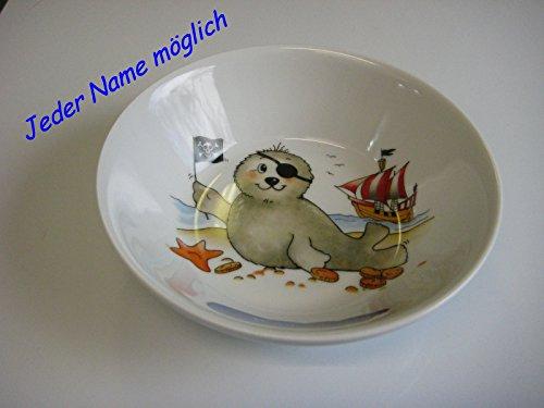 """Suppenteller \""""Seehund Pirat mit Augenklappe &Piratenschiff\"""""""