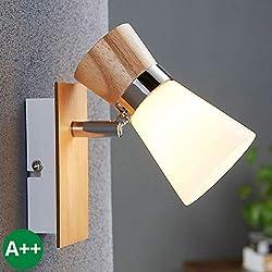 Lámpara de pared 'Vivica' (Escandinavo) en Marrón hecho de Madera e.o. para Salón & Comedor (1 llama, E14, A++) de LAMPENWELT | lámparas de pared de madera, aplique