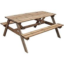 mesa de picnic con bancos madera tratada a presin
