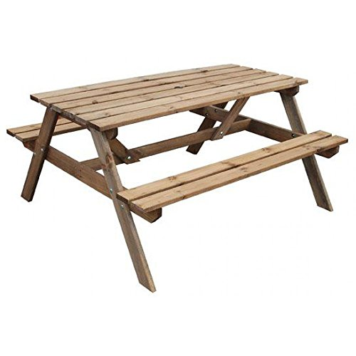 Picknickbank aus Holz mit druckbehandeltem Picknicktisch