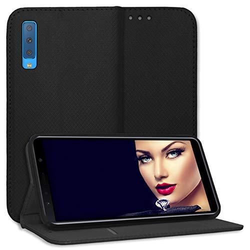 mtb more energy® Schutz-Tasche Bookstyle für Samsung Galaxy A7 2018 (Duos) SM-A750 (FN/DS, 6.0'') | schwarz | Kunstleder | Klapp-Cover Hülle Wallet Case