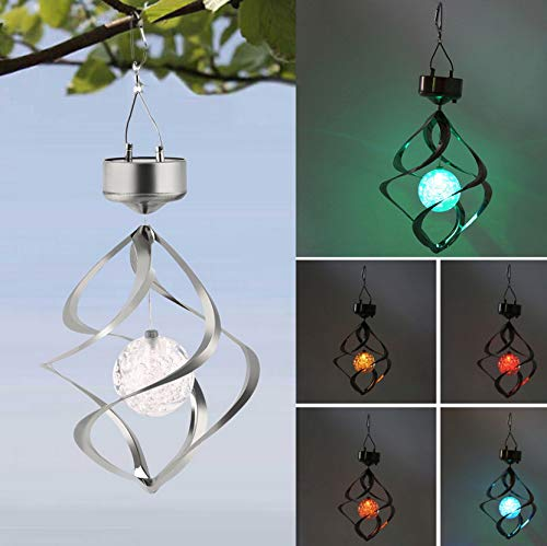 Solar Powered LED Wind Chimes Wind Spinner Colgante al aire libre Espiral...