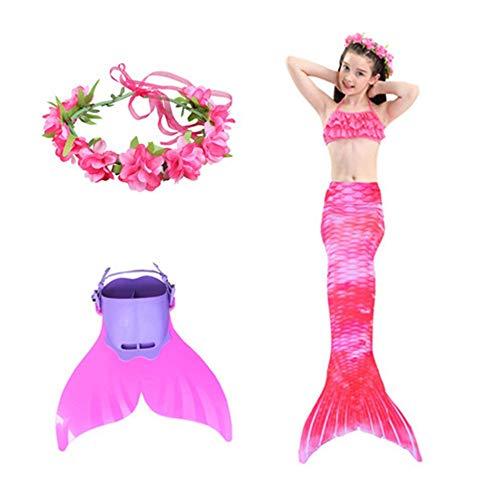 Meerjungfrauenflosse Für Kinder Schwimmen Mit, Mädchen Meerjungfrau Tails Bikini Badeanzug Setzt 3 Stücke Bademode Mit Flosse Für Schwimmen Cosplay Partei ( Color : Pink plus ankles , Size : 120cm ) -