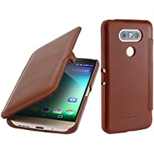 SStilGut Book Type avec clip, housse en cuir pour LG G5. Etui de protection de cuir véritable à ouverture latérale, cognac
