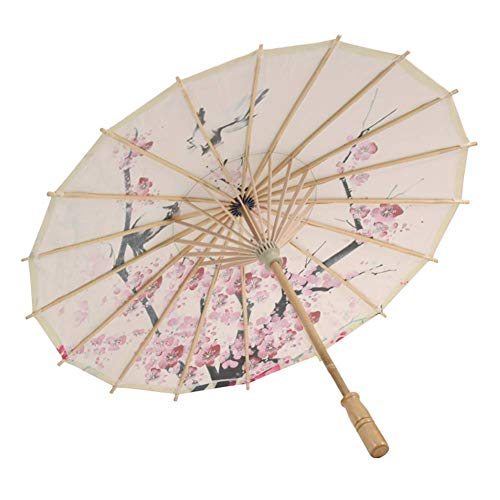Maritown Chinesische handgemachte Sonnenschirm dekorative Öl Papier und Bambus Regenschirm für klassischen Tanz Leistung Kostüme Cosplay Fotografie Dekor (gemusterte Polyester, Holz)