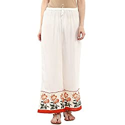 Bhama Couture Women White Palazzo with floral print at bottom