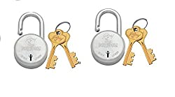 Godrej Locks Navtal 7 Levers Carton Padlock with 3 Keys (Silver, Set of 2)