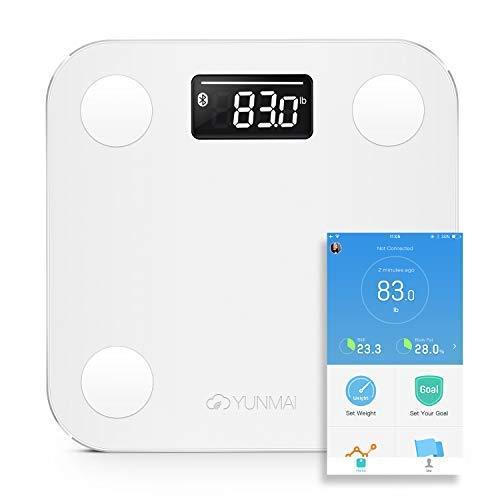 Smart Personenwaage YUNMAI Mini Bluetooth Körperfettwaage mit LED-Anzeige, Badwaage mit kostenloser iOS und Android App