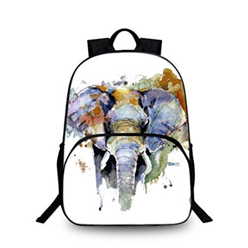 Kreativer Art und Weisekarikaturrucksack der Eule und des Elefanten