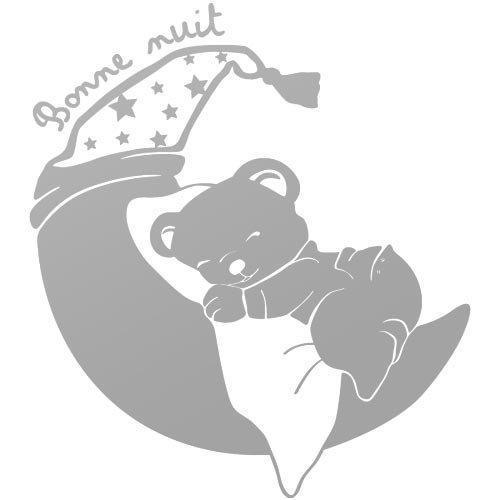 sticker petit ourson rêveur Argent 40x44 cm