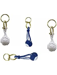 3X Schlüsselanhänger mit Schäkel//Ring Zierknoten Baumwolle-Messing-blau//weiß