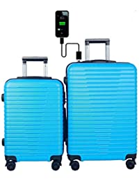 3G ABS Blue Atlantis Smart Series 4 Wheel Hard Sided Luggage Trolley Travel Bags (20 Inch and 24 Inch) Set of 2