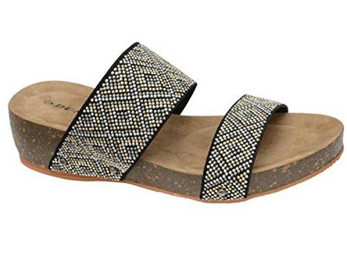 Dunlop Sandali infradito da donna zoccolo basso (Multi/Black)